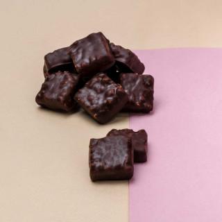rochers pralinés (noisettes du Piémont) enrobés de chocolat noir